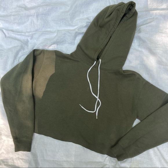 Wild Fable Cropped Army Green Hoodie